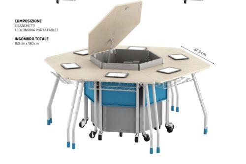 Banco trapezioidale aggregabile con ruote piroettanti e armadio di ricarica tablet o notebook per ambienti didattici innovativi.
