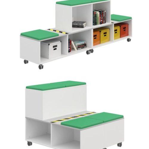 Tribuna trasformabile in libreria e contenitore
